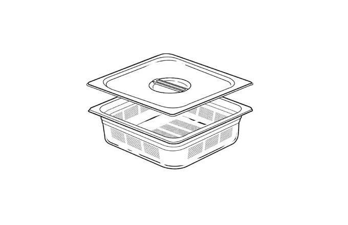 Bac inox GN perfores avec couvercle 2-3  - pianos-et-fourneaux.com le spécialiste des pianos de cuisine et fourneaux de cuisson Lacanche et Westhal