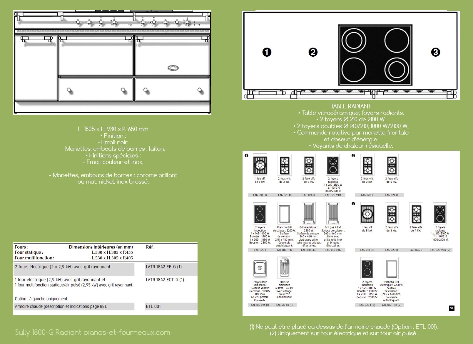 Sully 1800 G Radiant configurations possibles - pianos-et-fourneaux.com le spécialiste des pianos de cuisine et fourneaux de cuisson Lacanche