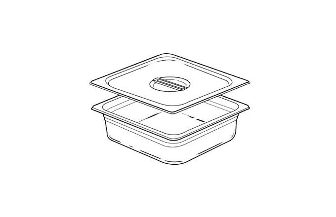 Bac inox GN pleins avec couvercle 5,7l  - pianos-et-fourneaux.com le spécialiste des pianos de cuisine et fourneaux de cuisson Lacanche et Westhal
