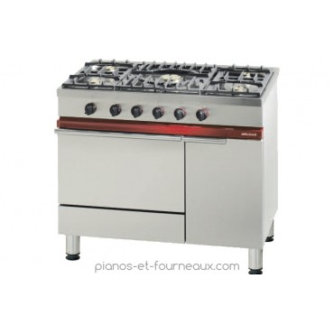 Fourneau 5 feux vifs, 1 four gaz Gastronorme 1/1